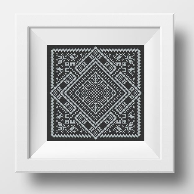 Swedish Rhombus Folk Embroidery pdf pattern with birds in cross stitch