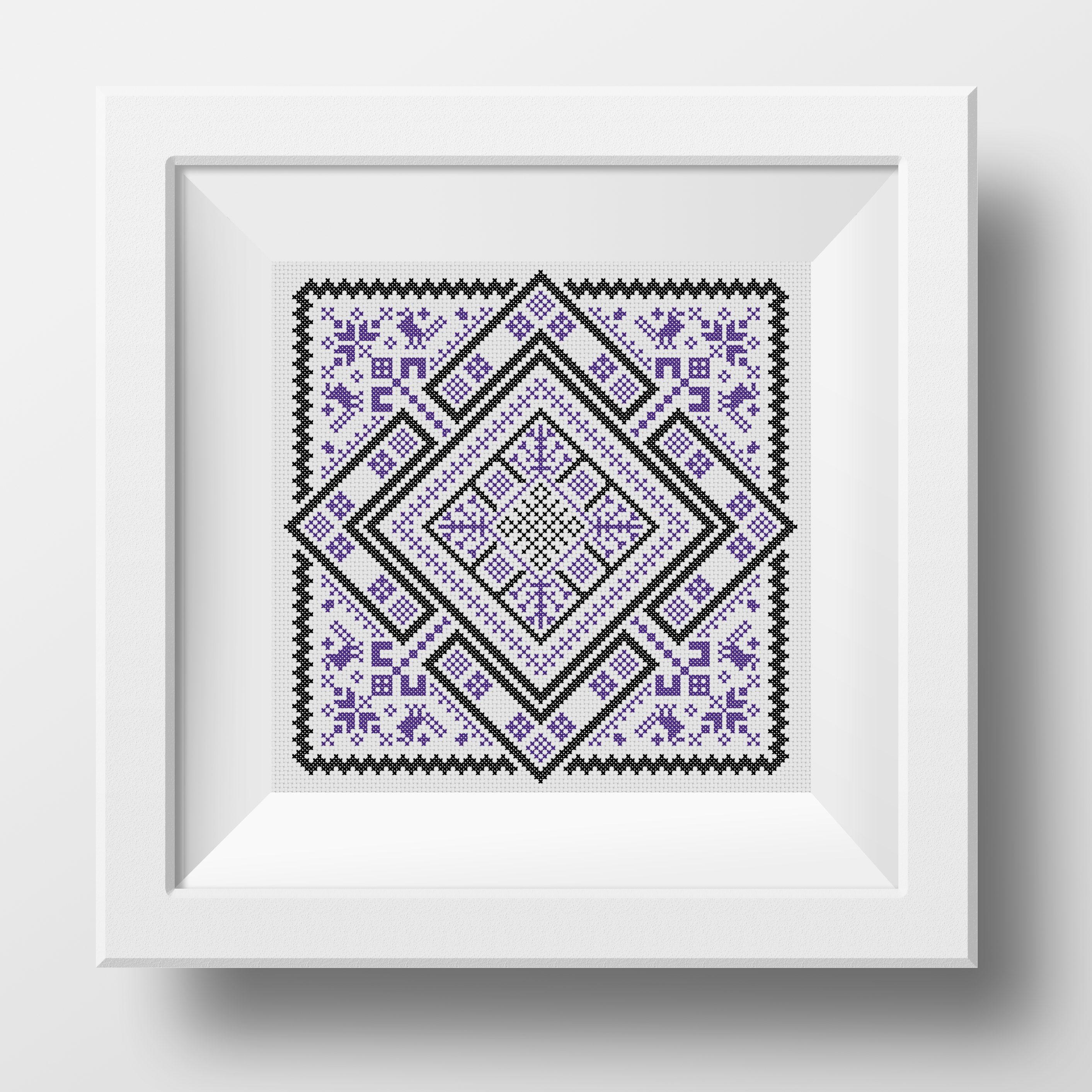 Swedish Rhombus Folk Embroidery pdf pattern with birds in cross stitch